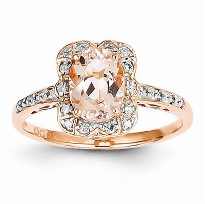 Prong-Set Morganite and Diamond Ring in 14K Rose Gold