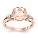 Round-Cut Morganite and Diamond Ring in 14K Rose Gold