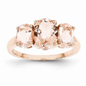 Three Stone Morganite Cocktail Ring in 14K Rose Gold
