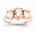 Three Stone Morganite Cocktail Ring in 14K Rose Gold