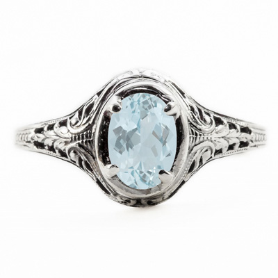 Oval Cut Aquamarine Art Nouveau Style 14K White Gold Ring