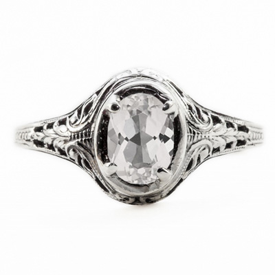 Oval Cut White Topaz Art Nouveau Style 14K White Gold Ring