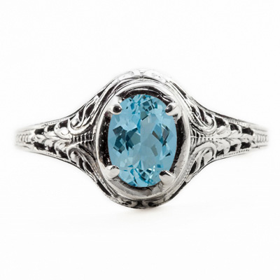 Oval Cut Blue Topaz Art Nouveau Style 14K White Gold Ring