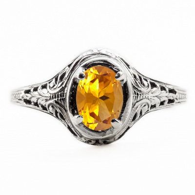 Oval Cut Citrine Art Nouveau Style 14K White Gold Ring