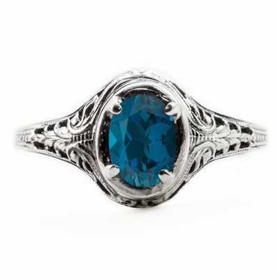 Oval Cut London Blue Topaz Art Nouveau Style 14K White Gold Ring