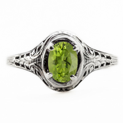 Oval Cut Peridot Art Nouveau Style Sterling Silver Ring