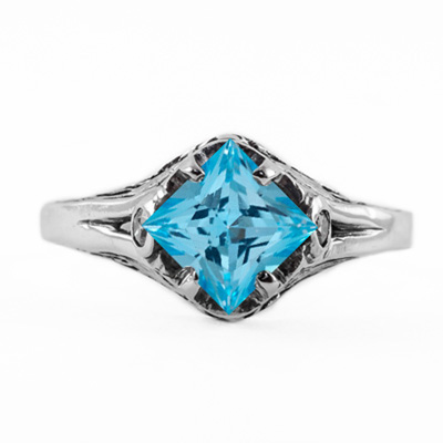 14K White Gold Princess Cut Blue Topaz Art Deco Style Ring