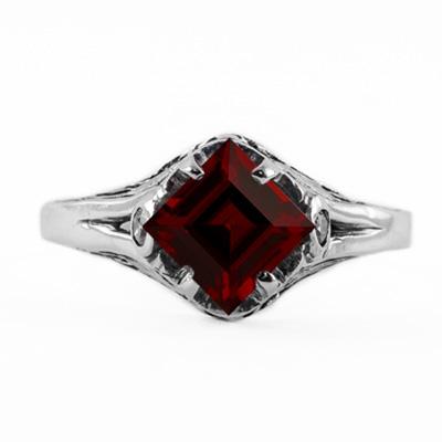 14K White Gold Princess Cut Garnet Art Deco Style Ring