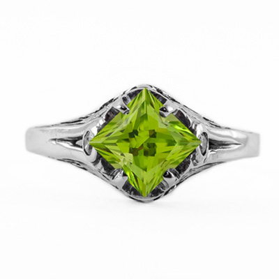 14K White Gold Princess Cut Peridot Art Deco Style Ring