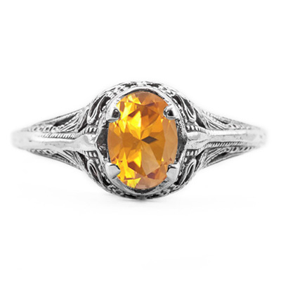 Swan Design Vintage Style Oval Cut Citrine Ring in 14K White Gold