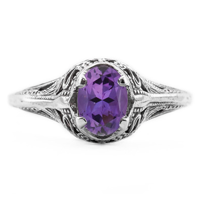 Swan Design Vintage Style Oval Cut Amethyst Ring in 14K White Gold