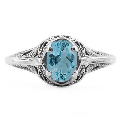 Swan Design Vintage Style Oval Cut Blue Topaz Ring in Sterling Silver