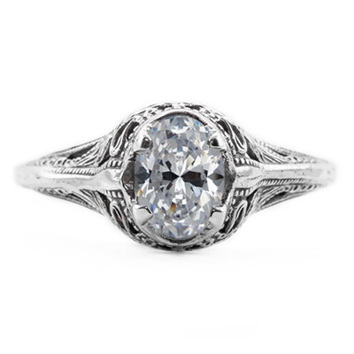 Swan Design Vintage Style Oval Cut CZ Ring in 14K White Gold