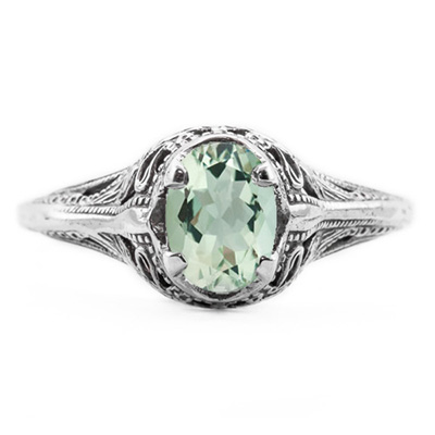 Swan Design Vintage Style Oval Cut Green Amethyst Ring in 14K White Gold