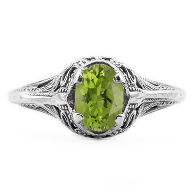 Swan Design Vintage Style Oval Cut Peridot Ring in Sterling Silver
