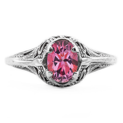 Swan Design Vintage Style Oval Cut Pink Topaz Ring in 14K White Gold