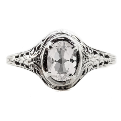 Swan Design Vintage Style Oval Cut White Topaz Ring in 14K White Gold