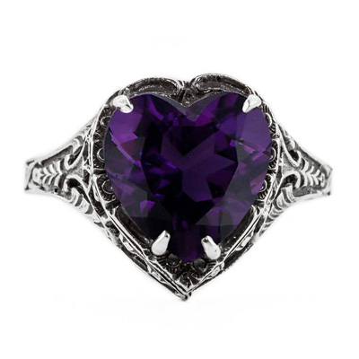 Vintage Filigree Amethyst Heart Ring in 14K White Gold