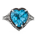 Vintage Filigree Blue Topaz Heart Ring in 14K White Gold