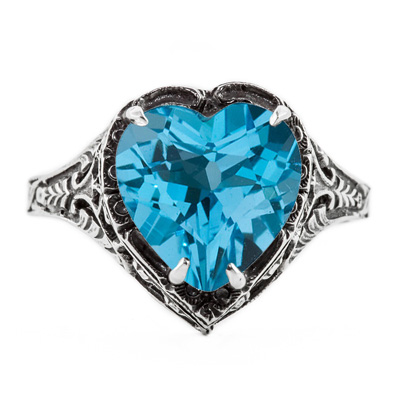 Vintage Filigree Blue Topaz Heart Ring in 14K White Gold