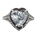 Vintage Filigree CZ Heart Ring in 14K White Gold