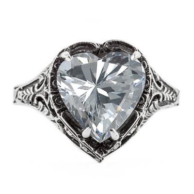 Vintage Filigree CZ Heart Ring in Sterling Silver