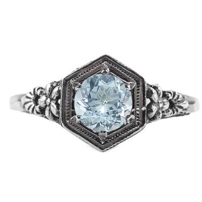 Vintage Floral Design Aquamarine Ring in 14k White Gold