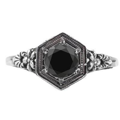 Vintage Floral Design Black Diamond Ring in 14k White Gold