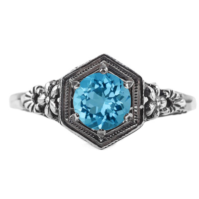 Vintage Floral Design Blue Topaz Ring in 14k White Gold