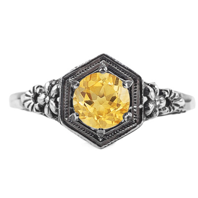 Vintage Floral Design Citrine Ring in 14K White Gold