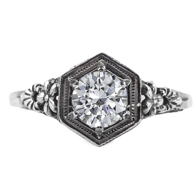 Vintage Floral Design White Topaz Ring in 14k White Gold