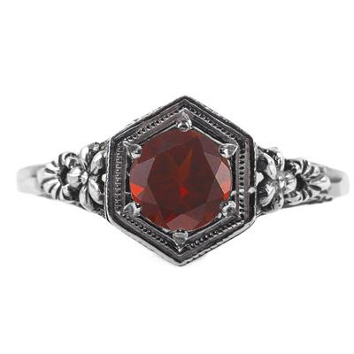 Vintage Floral Design Garnet Ring in 14k White Gold