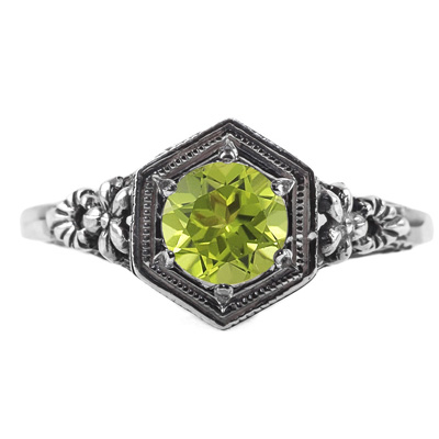 Vintage Floral Design Peridot Ring in 14k White Gold