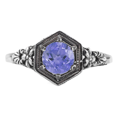 Vintage Floral Design Tanzanite Ring in Sterling Silver