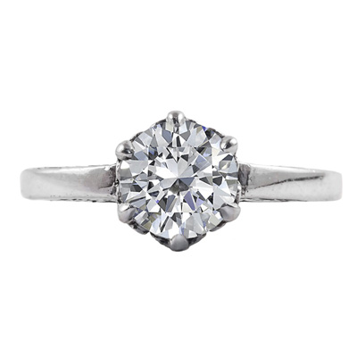 Vintage Style White Topaz Solitaire Ring in 14K White Gold