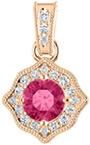 Rose Gold 5mm Pink Topaz and 0.19 Carat Diamond Pendant