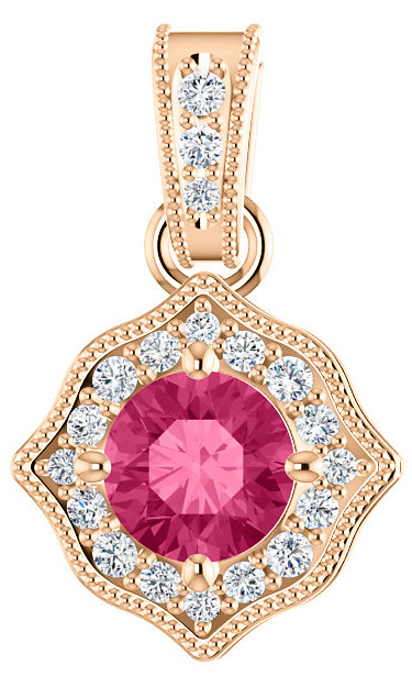 Rose Gold 5mm Pink Topaz and 0.19 Carat Diamond Pendant