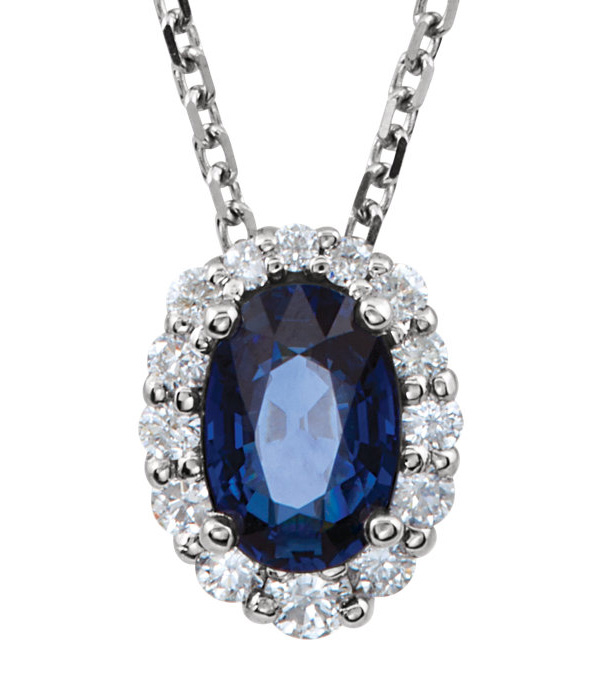 3/4 Carat Blue Sapphire and Diamond Necklace, 14K White Gold