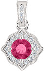 Pink Topaz and 1/5 Carat Diamond Pendant in White Gold
