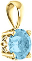 6mm Aquamarine Solitaire Gemstone Pendant, 14K Yellow Gold