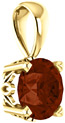 Dark Orange-Red Garnet Solitaire Pendant in 14K Gold