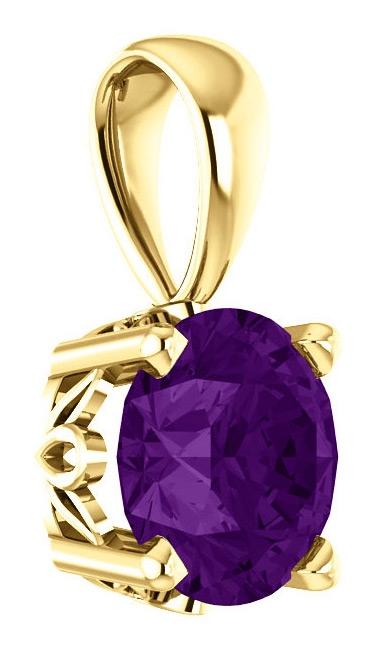 6mm Genuine Amethyst Solitaire Scroll Pendant, 14K Gold