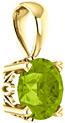 6mm Green Peridot Solitaire Pendant, 14K Yellow Gold