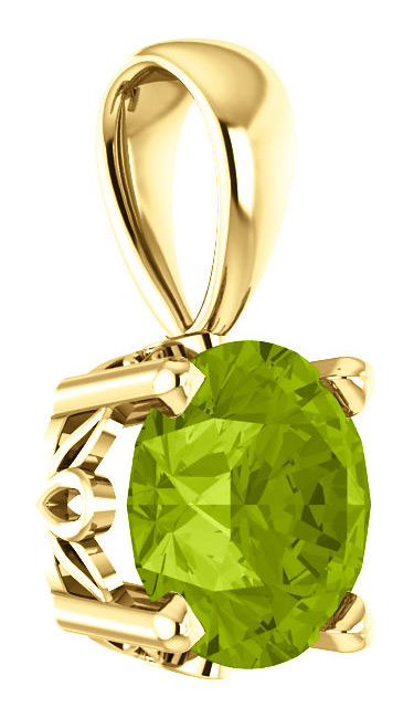 6mm Green Peridot Solitaire Pendant, 14K Yellow Gold
