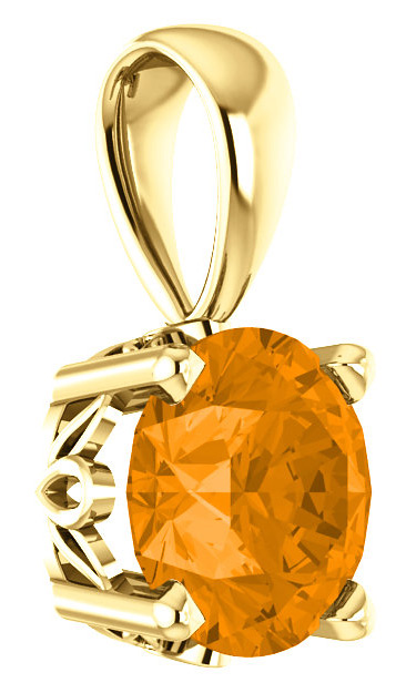 6mm Orange Garnet Solitaire Pendant, 14K Yellow Gold