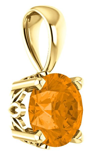 6mm Orange Garnet Solitaire Pendant, 14K Yellow Gold