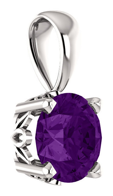 6mm Purple Amethyst Solitaire Pendant in .925 Sterling Silver
