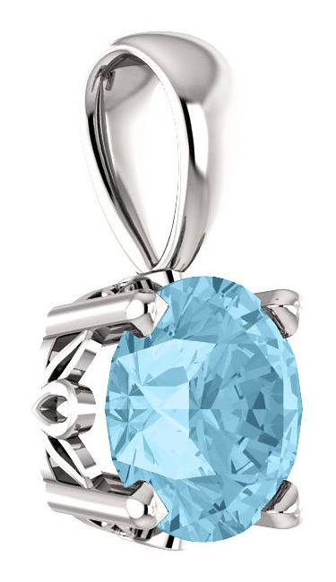 AQUAMARINE SOLITAIRE PENDANT IN 14K WHITE GOLD