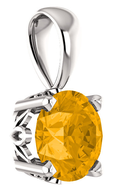 6mm Round Citrine Gemstone Solitaire Pendant, 14K White Gold