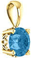 6mm Swiss Blue Topaz Gemstone Solitaire Pendant, 14K Yellow Gold